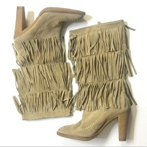 MICHAEL KORS TAN FRINGE HIGH HEEL BOOT
